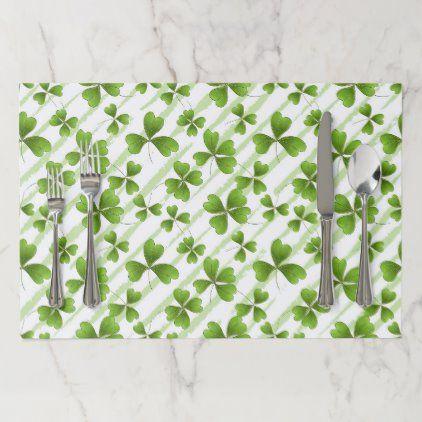 Saint Patrick S Day Clovers Tiled Party Paper Placemat Zazzle Com Party Paper St Patricks Day Placemats