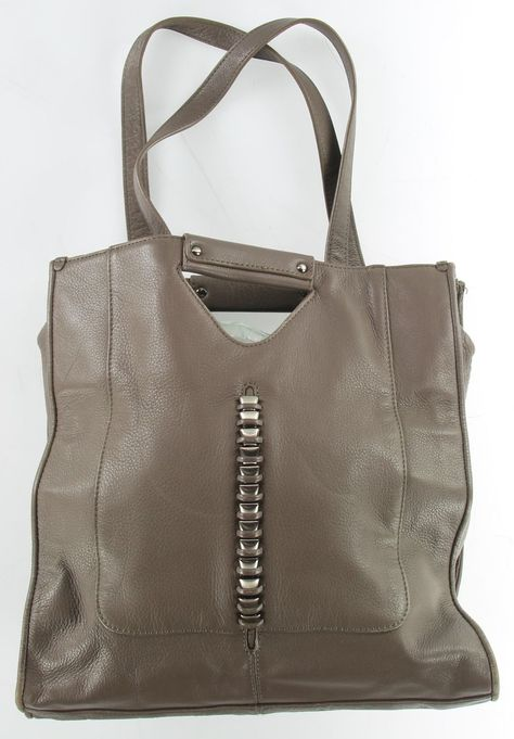 POUR LA VICTOIRE Gray Leather Double Strap Tote Bag An