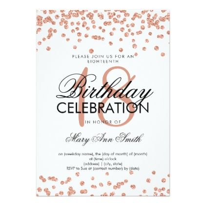 Elegant 18th Birthday Rose Gold Glitter Confetti Invitation