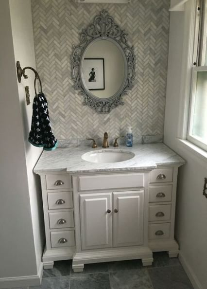 38++ Small vanity backsplash ideas custom