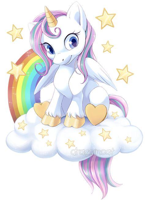 Com: Rainbow Unicorn (not MLP related) by DragginCat.deviantart.com on @DeviantArt