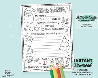 Letter To Santa Coloring Page Please Read Item Description For Instructions On How To Download Santa Coloring Pages Santa Letter Dear Santa Letter
