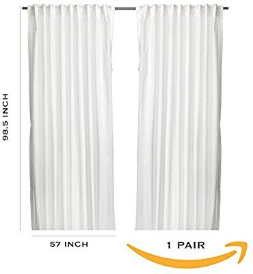 Amazon Com Ikea Thin Curtains 1 Pair White Home Kitchen Curtains With Rings Wrap Around Curtain Rod Curtain Rings With Clips