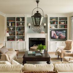 Family Room: Fireplace & TV & Built-in Shelving | Diy shelving ...