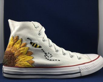 White Sunflower Embroidered Converse