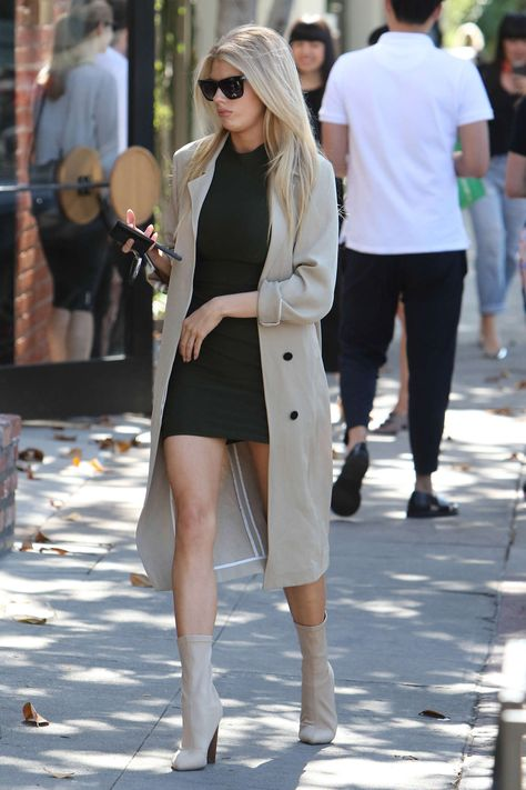 Charlotte McKinney.. BB DAKOTA jacket, Mistress Rocks dress, and EGO booties..