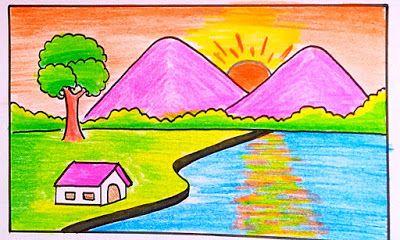 رسم منظر طبيعي سهل بالرصاص Landscape Drawings Landscape Drawings