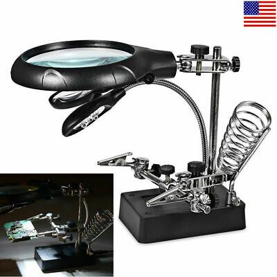 10LEDS Helping Hand Welding Magnifying Glass Soldering Iron Stand Holder Station