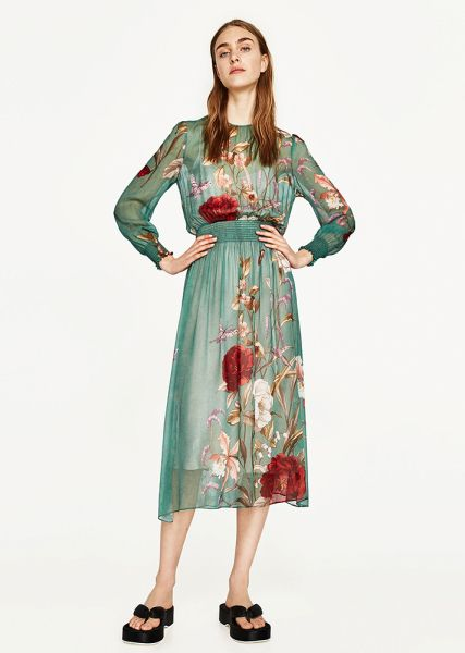 What To Buy Under 100 From Zara Spring 2017 Stylecaster Print Chiffon Dress Floral Chiffon Dress Flowing Dresses