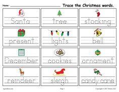 FREE Printable Christmas Words Handwriting & Tracing ...