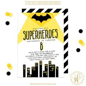 Bat Superhero Invitation Superhero Invitation Superhero