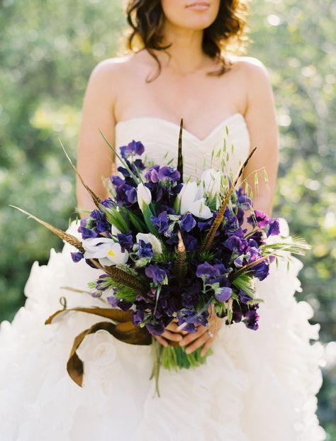 Irises, Sweet Peas, Wheat, Pheasant Feathers