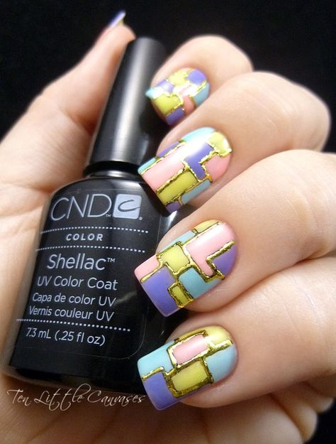 Weekly Mani: Foiled Color Block Design | Ten Little Canvases