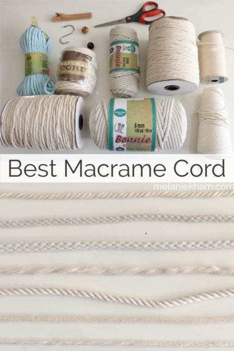 Learn about the best macrame cord and the pros and cons of various kinds. Also, macrame tutorials that show off each style of rope and some other great macrame supplies! Macrame Supplies, Macrame Projects, Macrame Wall Hanging Patterns, Free Macrame Patterns, Macrame Tutorial, Bracelet Tutorial, Micro Macramé, Rope Crafts, Macrame Cord