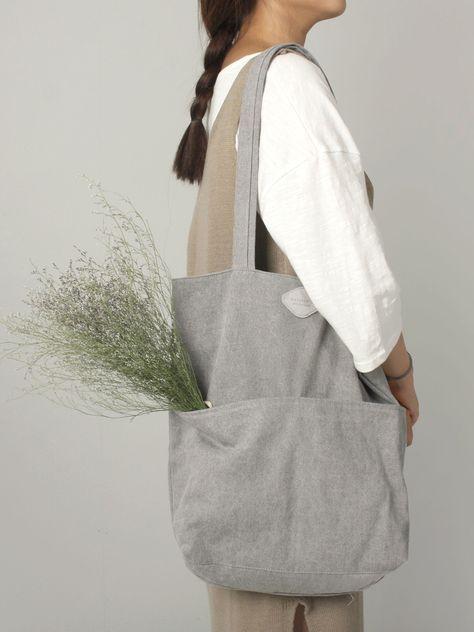 Canvas Shoulder Tote Bag Lazy Rabbit