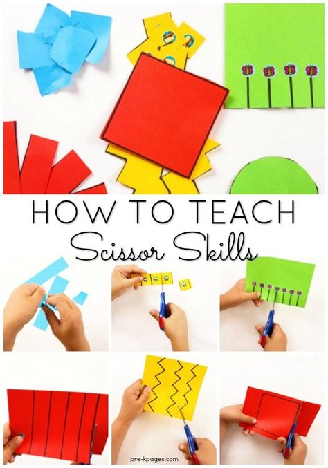 How to Teach Scissor Cutting Skills to Kids in Preschool, Pre-K, or Kindergarten. When you follow this developmental sequence your kids will be confident and successful cutting with scissors! #preschool #prek #prekpages