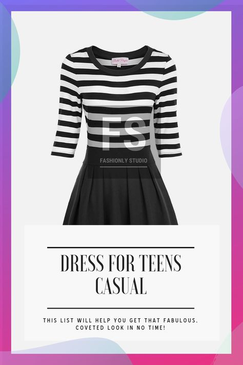 Dress For Teens Casual Women's Classy Scoop Neck Striped Retro Swing Dress Dress For Teens Casual#casual #classy #dress #neck #retro #scoop #striped #swing #teens #women #womens