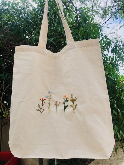 wild flowers Embroidery On Clothes, Embroidery Bags, Cute Embroidery, Flower Embroidery, Embroidered Clothes, Embroidery Patterns, Hand Embroidery Designs, Diy Embroidery Shirt, Etsy Embroidery