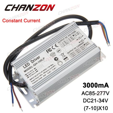Constant Current Led Driver 7 10x10 3000ma Dc21 34v 70w 80w 100w Ip67 Waterproof Lamp Light Power Supply Lighting Transformer With Images Led Drivers Constant Current Led