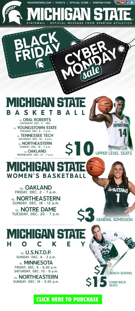 Michigan State Black Friday Cyber Monday College Athletics Michigan State Michigan State Basketball