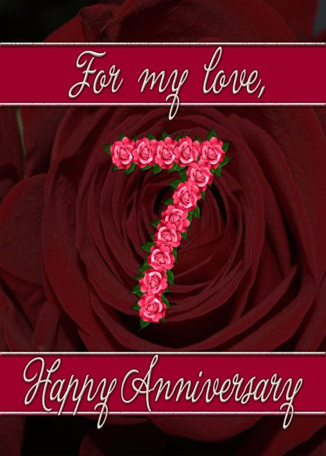 7th Wedding Anniversary With Numbers Made From Roses Card Ad Sponsored Anniversary 7th Wedding Anniversary Wedding Anniversary Wedding Anniversary Cards