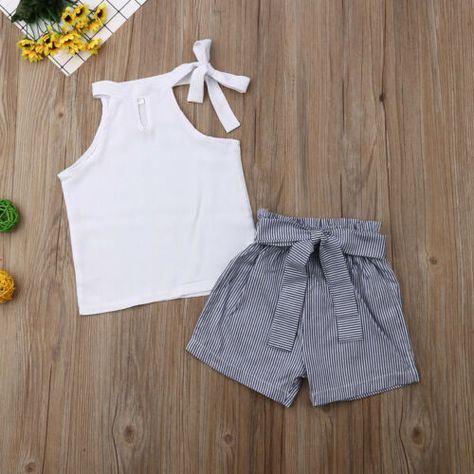 US Toddler Baby Girl Kid Summer Outfit Clothes T-shirt Top+Stripe Shorts Pants