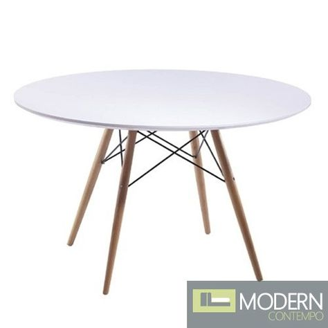 This 48 Inch Dining Table Has A White Lacquer Top And Wooden Legs