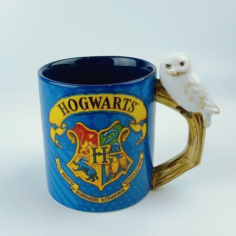 Harry Potter Hogwarts Crest Ceramic Mug with Hedwig Sculpted Handle 20oz