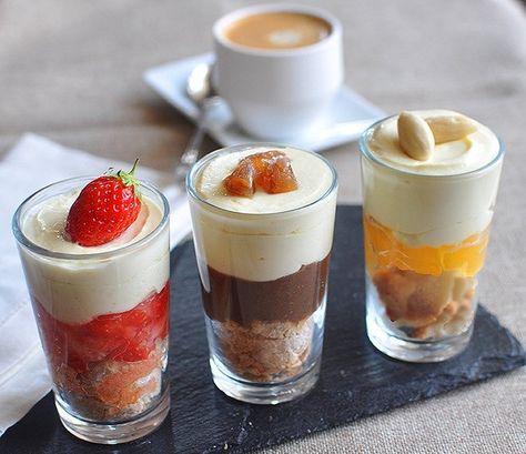 Recette Trio de tiramisù version café gourmand (mini tiramisù aux fraises, mini tiramisù abricots amandes & mini tiramisù aux marrons glacés)