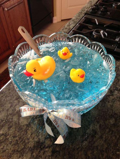 Nautical baby shower punch: blue raspberry kool-aid, lemonade, and sprite