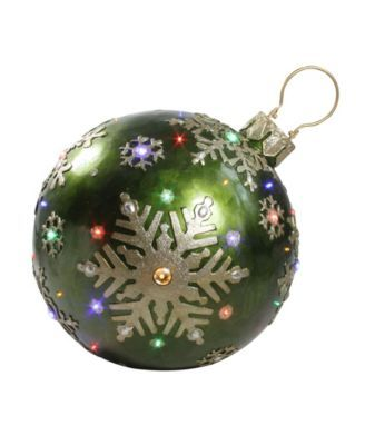 18 Led Lighted Green Jeweled Commercial Grade Christmas Ball Ornament With Snowflake Ball Ornaments Christmas Balls Ornaments