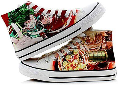 Miss House My Hero Academia Canvas Shoes,Izuku Midoriya Katsuki Bakugo Shoto Todoroki Cosplay Unisex High-top Canvas Shoes