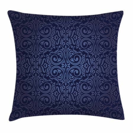 Indigo Throw Pillow Cushion Cover Victorian Vintage Ancient Royal Times Inspired Floral Leaves Sw Indigo Throw Pillow Blue Throw Pillows Cushion Pillow Covers