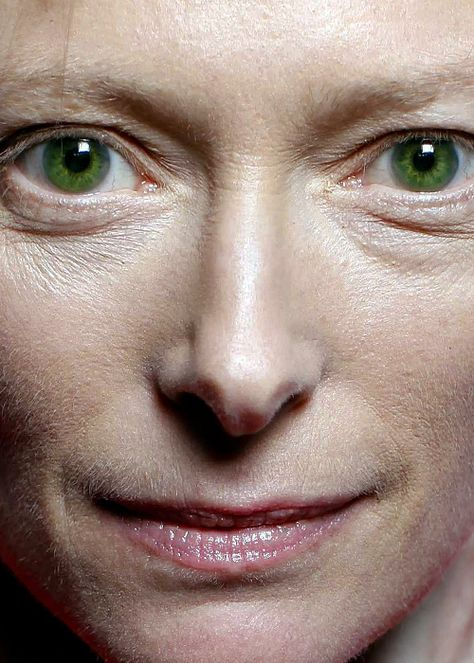 Even *extremely close* Tilda Swinton is effing fierce.