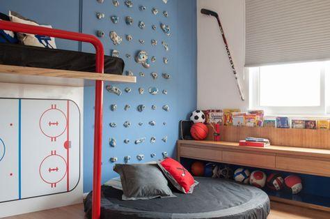 Kid's hockey & sports room. Or Steve's room.