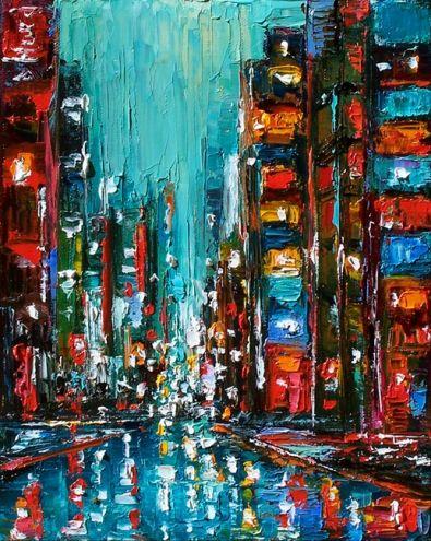 city painting...Cityscape, street rain abstract city New York by Debra Hurd, painting by artist Debra Hurd