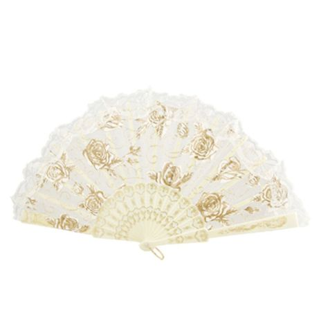 DHDL! Lace Trim Organza Plastic Ribs Dance Foldable Hand Fan