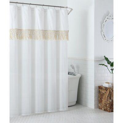Bungalow Rose Vince Single Shower Curtain Color White Colorful