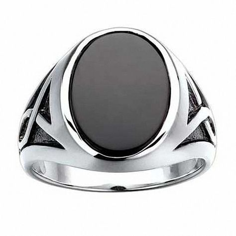Men's Oval Onyx Ring in Sterling Silver - mens stainless steel jewelry, mens gold jewelry, mens silver jewelry cheap