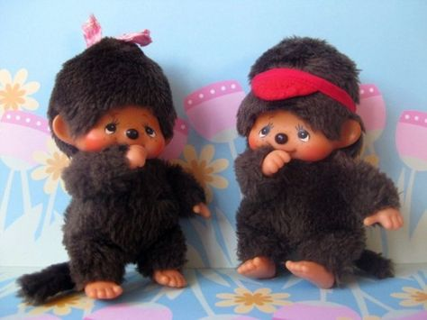 Sekiguchi Monchhichi Boy and Girl Bebichhichi...Blast from the Past board...one of my favorite toys growing up