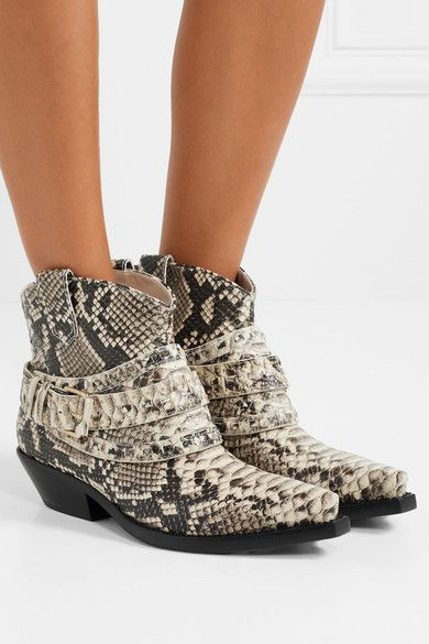 Snake Print Snake Effect Leather Ankle Boots Zimmermann Boots Leather Ankle Boots Favorite Boots