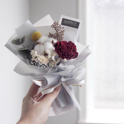 Mini Assorted Cotton Bouquet Twilight Etsy Buket Bunga Bunga Kering Rangkaian Bunga