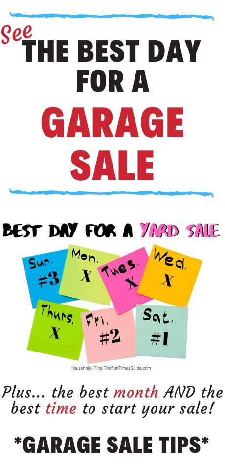 How To Choose A Date For Your Yard Sale The Best Month Day Time For Garage Sales Yard Sale Household Hacks Fun Organization