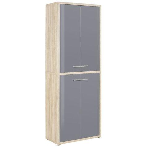 Ebern Designs Esel 4 Door Storage Cabinet Door Storage Grey Glass Tall Cabinet Storage