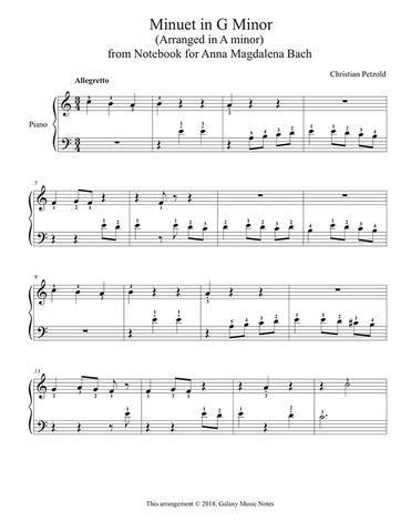 Minuet In G Minor Level 1 Piano Sheet Music Sheet Music