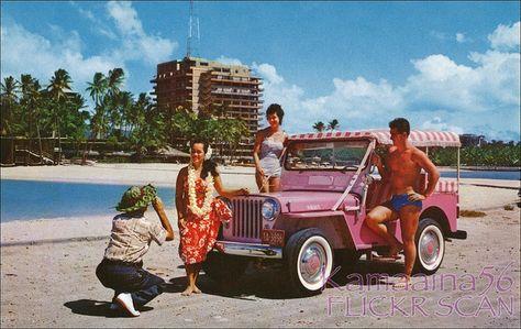 Kaiser Pink Jeep Waikiki C1957 Pink Jeep Beach Cars Vintage Hawaii