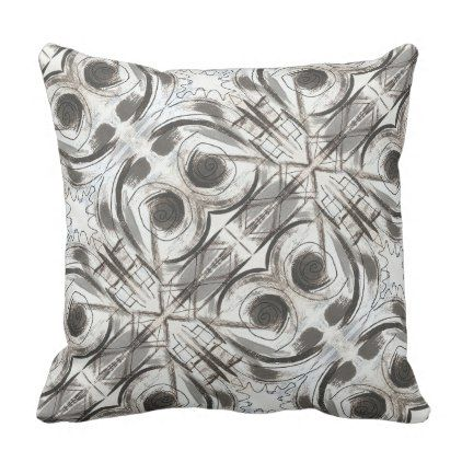Compromise Black And Gray Abstract Brushstrokes Throw Pillow
