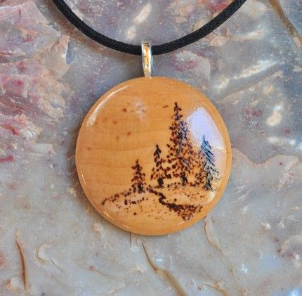 Cork and Sterling Silver Pendant with Wood-burned Design