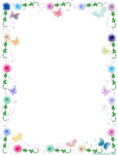 Floral Butterfly Border Stationery Free printable, Stationary - downloadable page borders for microsoft word