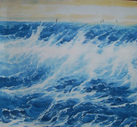 Excited to share this item from my #etsy shop: Hand painted,Original watercolor painting, Ocean, sea, waves, brush painting, Shuomo, Sumi e,ink wash painting,living room/office wall decor